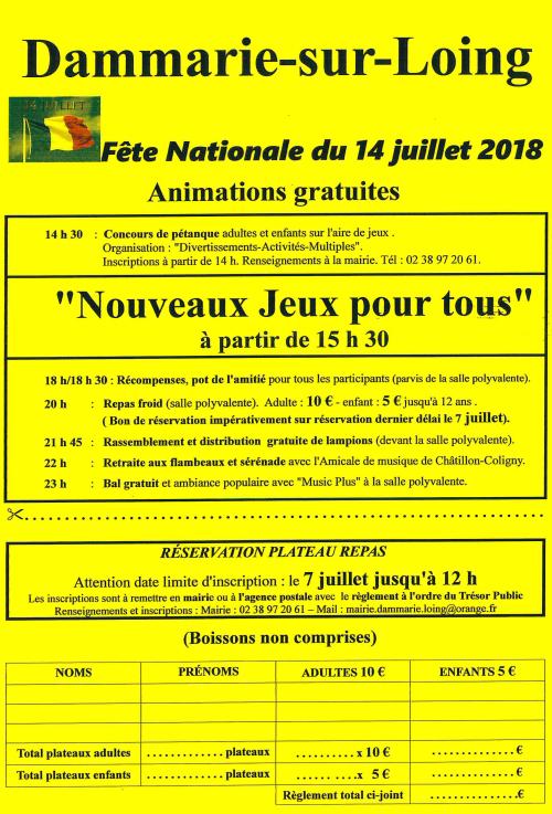 Programme et réservation plateau repas pour le 14 juillet 2018