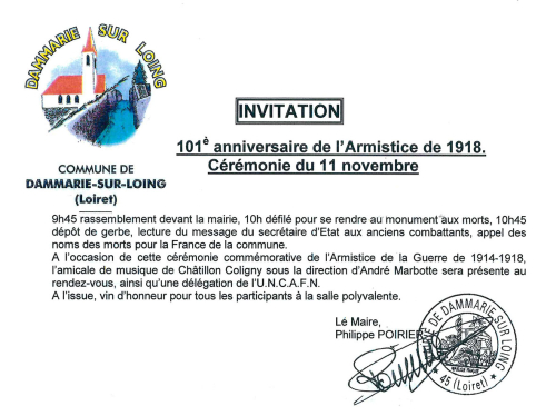 Invitation cérémonie du 11 novembre